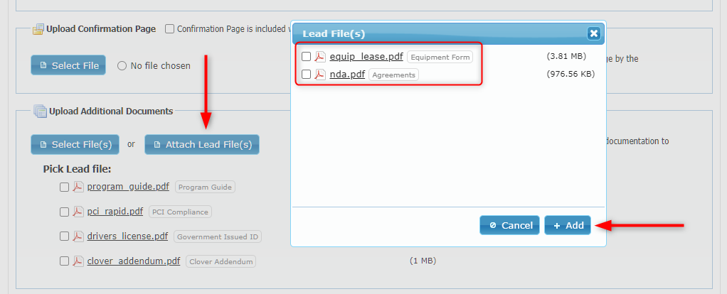Attach Lead Files