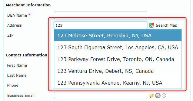 Select the correct address from a dropdown picklist