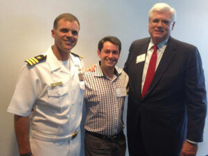 Picture of Captain Kelley Castell and OB Rawls First Data Management with Dimitri Akhrin IRIS CRM at Intrepid Event in New York
