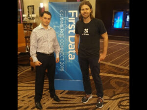 Dan Price, Gravity Payments CEO, named 'Entrepreneur of 2014' by Entrepreneur Magazine and Mr. Akhrin at the First Data COMMERCE CONNECT 2016 at The Cosmopolitan of Las Vegas.