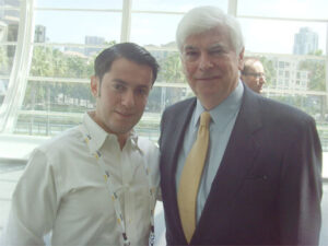 Picture of Senator Christopher Dodd and Dimitri Akhrin at Credit Card Processing Convention 2013