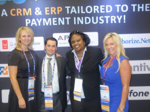 Picture of Vantiv Team: Darcy Klaus, Menda Sims, Stephanie Shotwell and Dimitri Akhrin in San Francisco CA for ETA Transact 15 Conference
